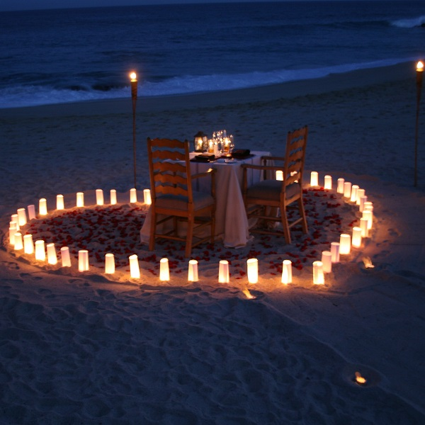 Romantic Beach Side  Candle Light Dinner With Wine and Cake