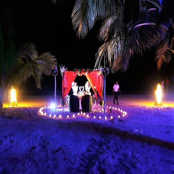 Romantic Beach Side  Candle Light Dinner With Decorated canopy