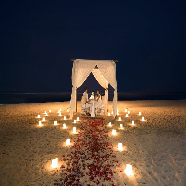 On the Beach Special Romantic  Candle Light Dinner with  Private Decorated canopy